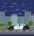 police car on road in urban landscape vector image