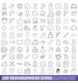 100 neighborhood icons set outline style vector image