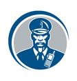 Security Guard Police Officer Radio Circle vector image