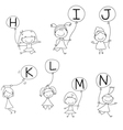 Set of Happy alphabet hand-drawn cartoon vector image