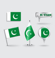Set of Pakistani pin icon and map pointer flags vector image