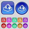 Upload icon sign A set of twelve vintage buttons vector image