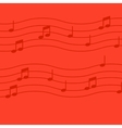 Music notes on red background vector image