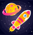 an orange rocket sticker with pink stripes and vector image