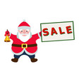cartoon santa claus with a sale sign vector image