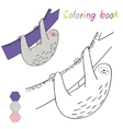 Coloring book sloth kids layout for game vector image