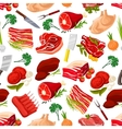 Seamless pattern background of meat products vector image