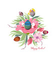 easter background with cute bunny and egg vector image
