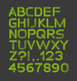 Paper green strict alphabet rounded Isolated on vector image vector image