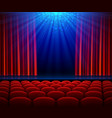 empty theater stage with red opening curtain vector image