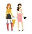 Fashion abstract girls silhouette isolated vector image