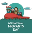 Refugees on the boat in open ocean Help Us vector image