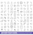 100 new year icons set outline style vector image