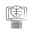 sketch draw basket ball in the hoop cartoon vector image