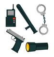 policemans basic work equipment isolated cartoon vector image