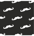 Tile pattern white mustache on black background vector image vector image