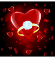 red hearts ring vector image vector image