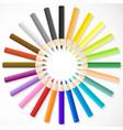 color pencils arrange in circle vector image