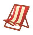 folding chaise lounge with striped cloth and wood vector image