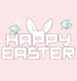Happy easter furry inscription with butterfly vector image