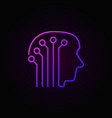 human head with electronic circuit colorful icon vector image