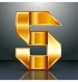 Number metal gold ribbon - 5 - five vector image