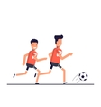 Two football players running after the ball Team vector image