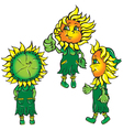 funny stylized sunflowers in the green vector image
