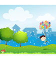 A boy floating in the air with the balloons vector image