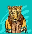 cheetah in a jacket vector image