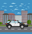 police suv on road in urban landscape vector image