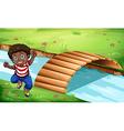 A happy Black kid near the wooden bridge vector image