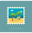Hammock with palm trees on beach stamp Vacation vector image
