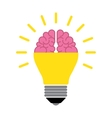Brain in the light bulb vector image
