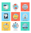 Flat Color Line Design Concepts Icons 20 vector image