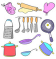 doodle of kitchen set various collection vector image