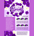 spring holidays floral wreath greeting poster vector image