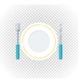 Plate Fork Knife Design Flat Icon vector image