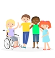 Special needs children with friends vector image