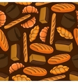 Fresh bread seamless pattern on brown background vector image