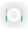 Plate Fork Knife Design Flat Icon vector image