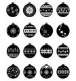 siluate christmas ball set vector image