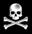 White shaded skull and crossbones 3D icon vector image