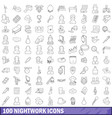 100 nightwork icons set outline style vector image
