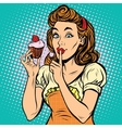 Retro woman with cupcake vector image
