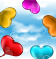Collection glossy hearts balloons for Valentine vector image