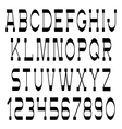 Slim black font and numbers vector image vector image