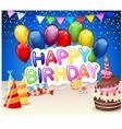 Birthday background with birthday cake and colorfu vector image