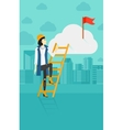 Woman climbing the ladder vector image