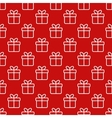 Seamless red pattern with gift boxes vector image